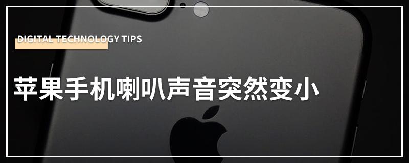 苹果手机喇叭声音突然变小