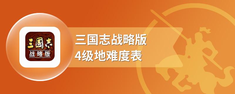 三国志战略版4级地难度表