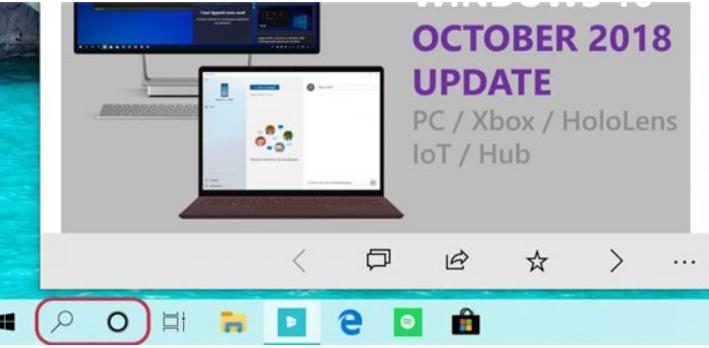 """微软Windows10任务栏小娜的图标和搜索功能的图标""""分家"""""""