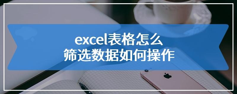 excel表格怎么筛选数据如何操作
