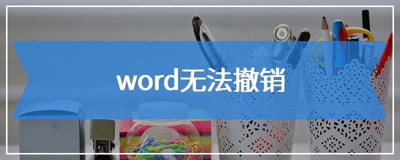 word无法撤销