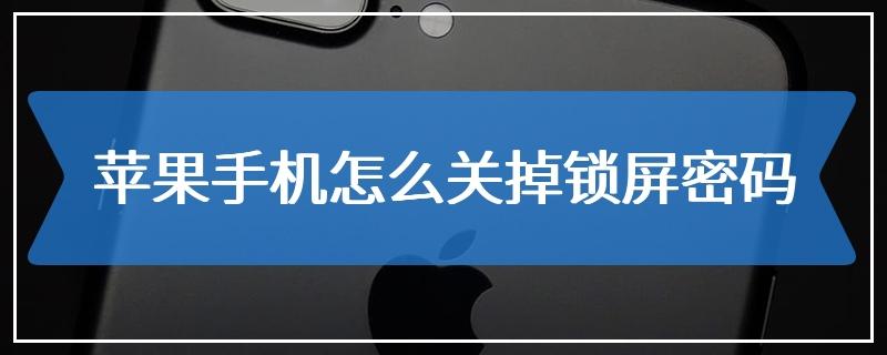 苹果手机怎么关掉锁屏密码