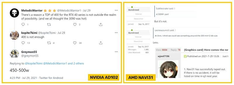 下一代旗舰GPU NVIDIA AD102和AMD NAVI31可能都消耗超过400W的功率
