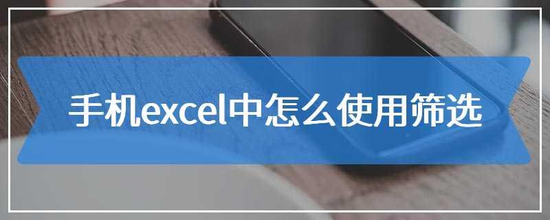 手机excel中怎么使用筛选