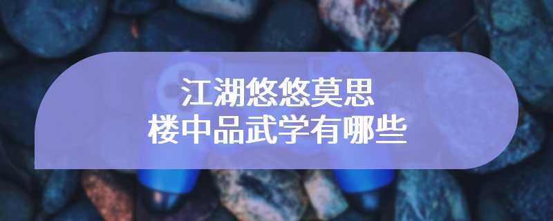 江湖悠悠莫思楼中品武学有哪些
