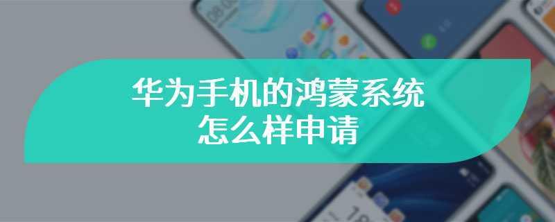 华为手机的鸿蒙系统怎么样申请
