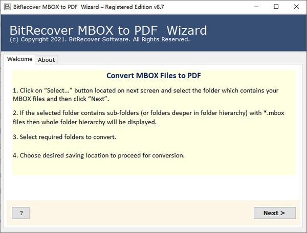 BitRecover MBOX to PDF Wizard(文件格式转换工具)
